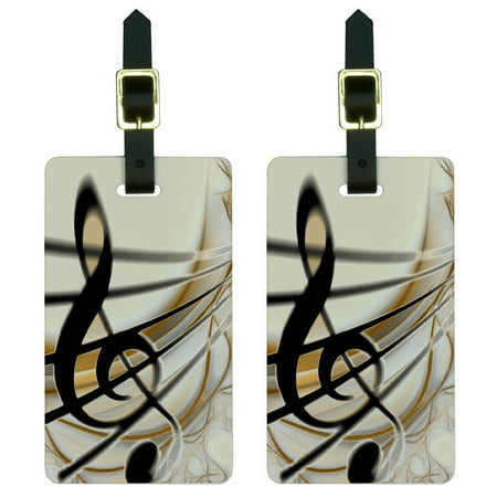 Graphics and More Sound Light Music Note Design Luggage Tag - Design Luggage Tag Set