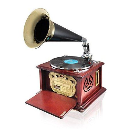 Vintage Retro Classic Style Bluetooth Turntable Phonograph Speaker System with MP3 Recording Ability by