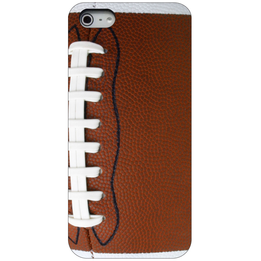 CUSTOM Black Hard Plastic Snap-On Case for Apple iPhone 5 / 5S / SE - Football Texture Photo Laces