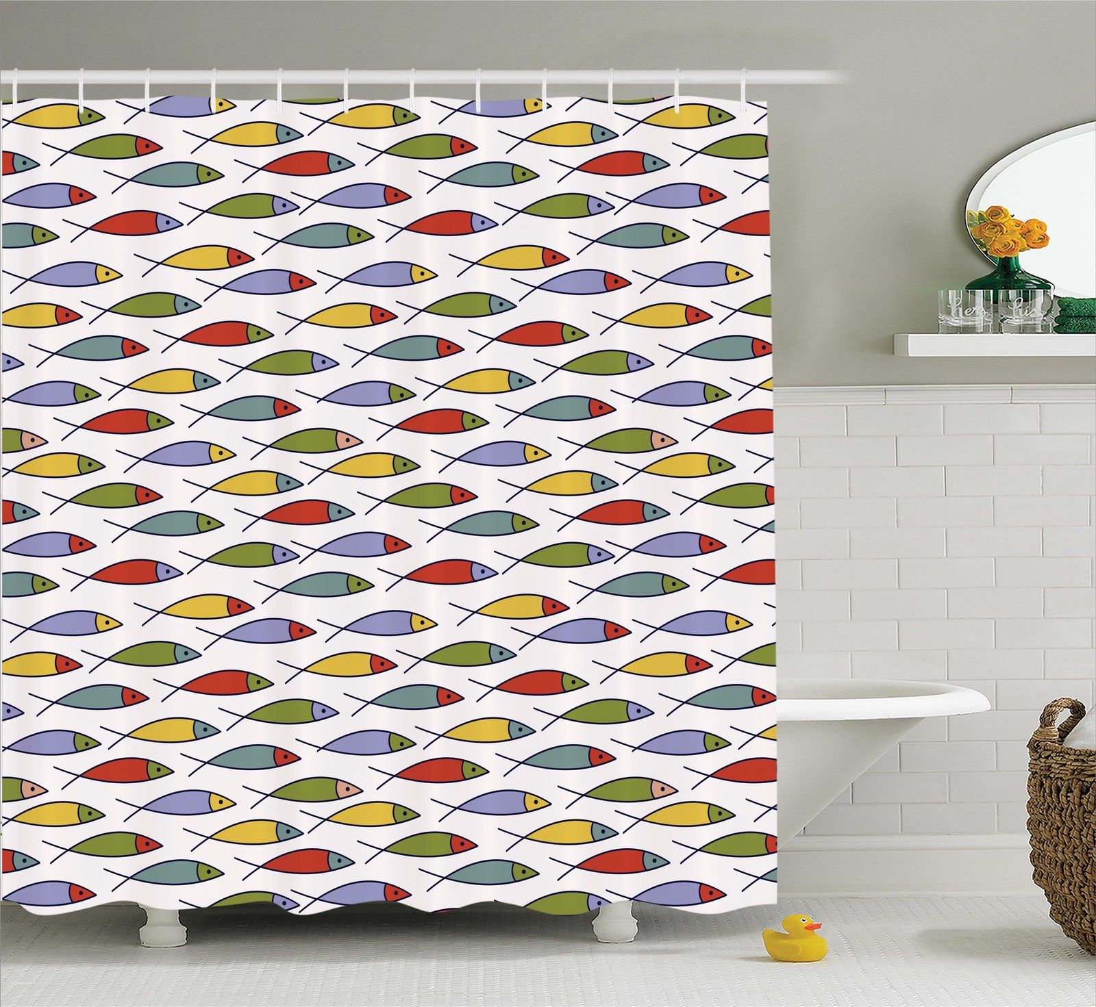 House Decor  Simplistic Floating Fish Forms In A Row Cute Kids Cover Aquatic Underwater Animal Lines Design, Bathroom Accessories, 69W X 84L Inches Extra Long, By Ambesonne