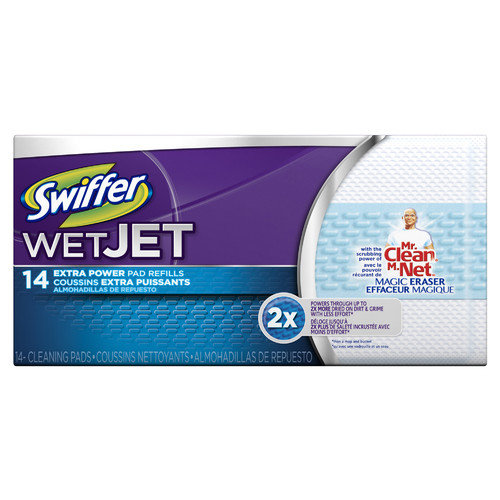Procter & Gamble Commercial Swifter Wet Jet Refill Pads with Mr Clean Magic Eraser (Pack of 14)