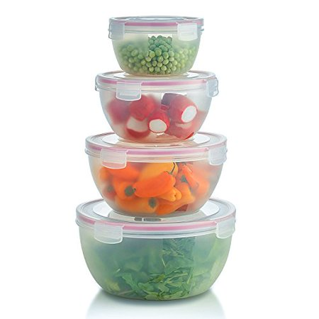Komax Biokips Round Mixing Bowl Set | Set of 4 Nesting Plastic Storage Bowls For Food Prep | Serving Salad Bowls With Lids | BPA-Free, Microwave Safe ()