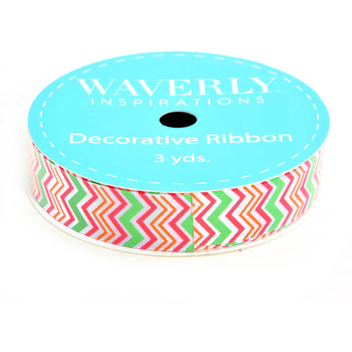 "Waverly Ribbon Chevron Satin Ribbon, 5/8"" x 3 Yards"