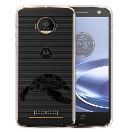 FINCIBO Soft TPU Clear Case Slim Protective Cover for Motorola Moto Z Force Droid Edition, Tribal