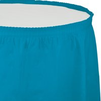 Pack of 6 Turquoise Blue Pleated Disposable Plastic Picnic Party Table Skirts 14'