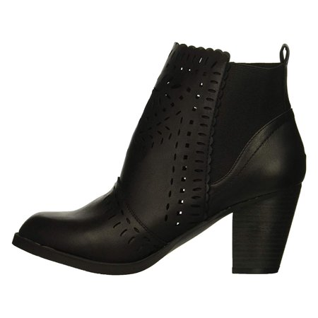 Nubuck Womens Boots - Rampage Womens Echer Closed Toe Ankle Fashion Boots, Black Nubuck, Size 6.5