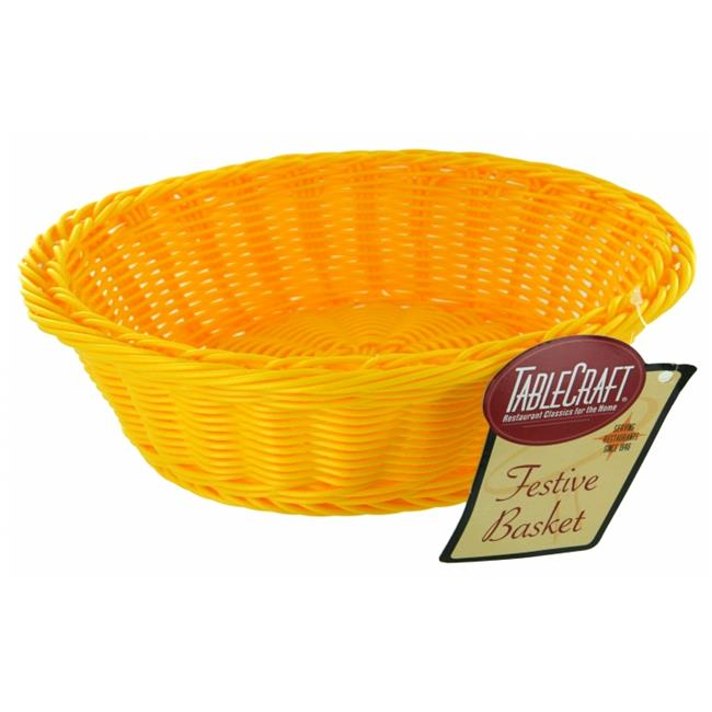 Tablecraft HM1186Y 12 inch X 4 inch Round Yellow Handwoven Basket