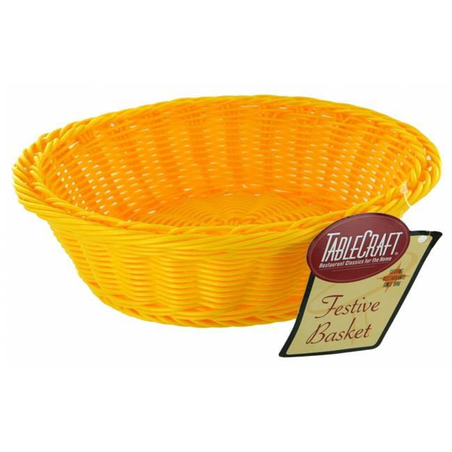 Tablecraft HM1186Y 12 inch X 4 inch Round Yellow Handwoven Basket