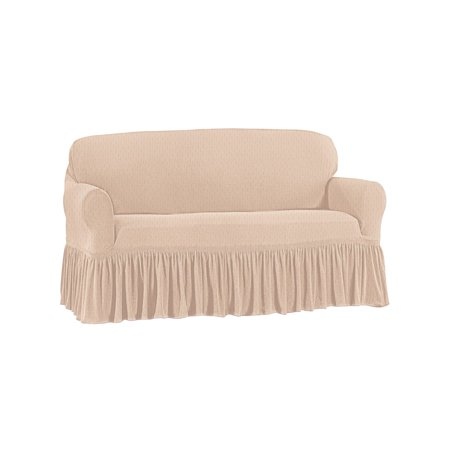 Awesome Ruffle Stretch Stain Resistant Slipcover Furniture Cover Protector Loveseat Taupe Pdpeps Interior Chair Design Pdpepsorg