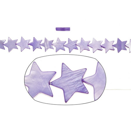 Shell Bead, Purple(Dyed) Mother-Of-Pearl, Star Plate, 12x12mm 16 Inch](Star Beads)