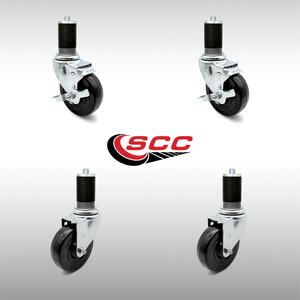 "Service Caster - Stainless Steel 4"" x 1.25"" Hard Rubber Wheels Caster Set of 4 - 2 Swivel/2 Swivel Casters w/Top Locking Brakes w/1-1/2"" Expand Stem"