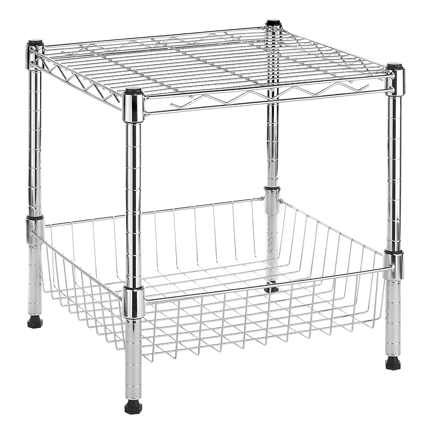 Commercial-Grade Steel Supreme Stacking Shelf w  Basket, Chrome, Quarter Elongated Seat Shelving Stacking EcoStorage... by