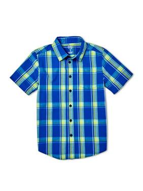 Wonder Nation Boys 4-18 & Husky Short Sleeve Button Up Printed Shirt