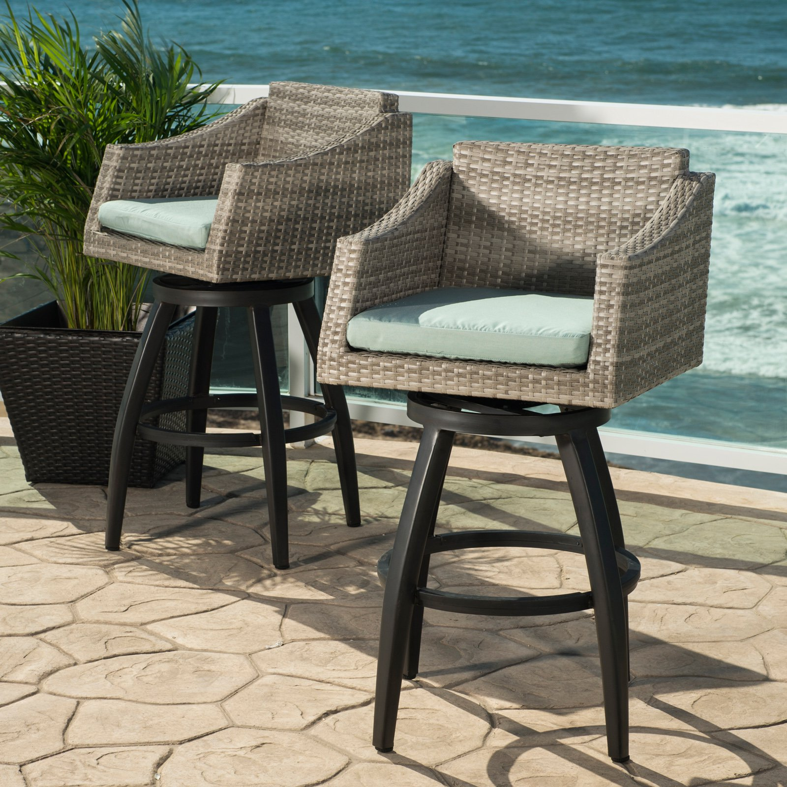 Cannes Set of 2 Swivel Barstools in Sunbrella Spa Blue by RST Brands