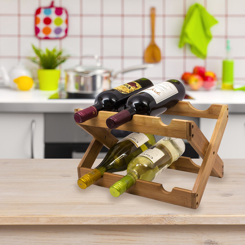 Sorbus Bamboo Foldable Countertop Wine Rack 6-bottles, with Two Horizontal Shelves by GGI International