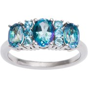 Sterling Silver Cassiopeia and Blue Topaz 3-stone Ring Size 9