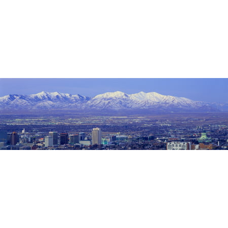 Panoramic Sunset Of Salt Lake City With Snow Capped Wasatch Mountains Canvas Art   Panoramic Images  36 X 12