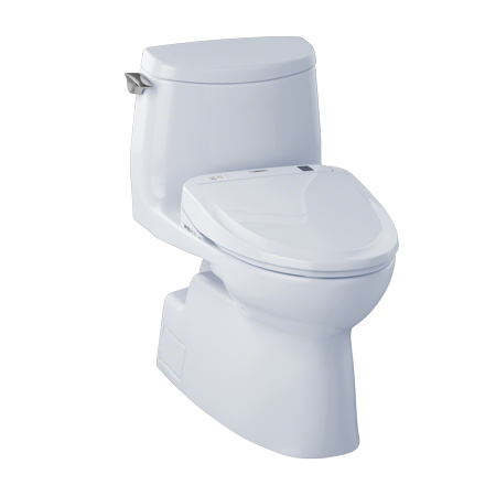 (TOTO® Connect+® Kit Carlyle® II 1G® One-Piece Elongated 1.0 GPF Toilet and Washlet® S350e Bidet Seat, Cotton White - MW614584CUFG#01)