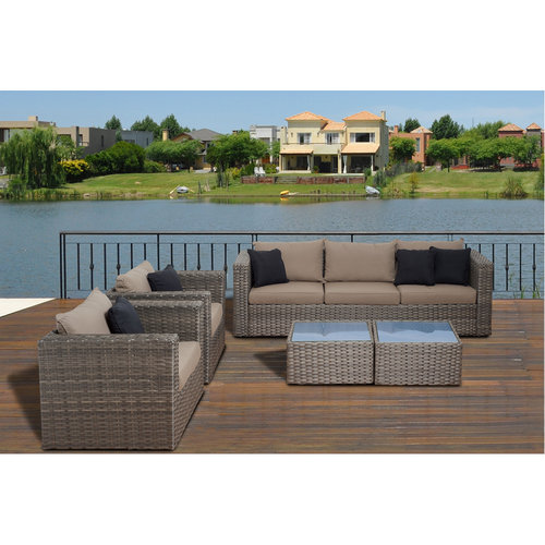 Mustang 5-Piece Distressed Grey Wicker Patio Conversation Set with Brown Cushions