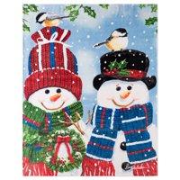 Christmas Throw 48X60 Chickadee Snowmen