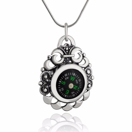Sterling Silver Victorian Scroll Working Compass Pendant Necklace, 18 Inch Snake Chain
