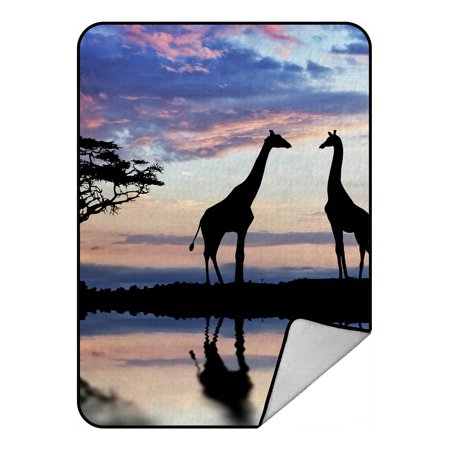 YKCG African Safari Animal Tree of Life Elephant Giraffe Sunset Lake Blanket Crystal Velvet Front and Lambswool Sherpa Fleece Back Throw Blanket 58x80inches