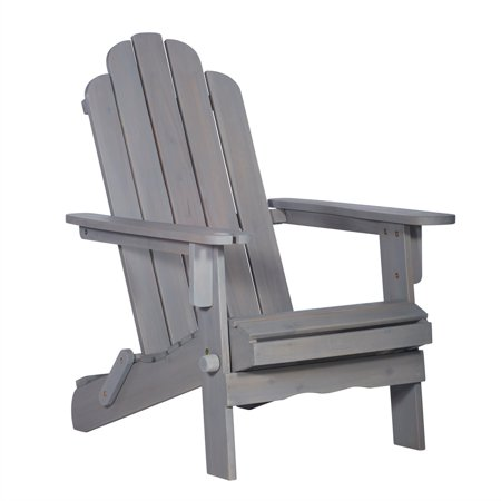 Outdoor Wood Adirondack Patio Chair With Wine Gl Holder In Grey Wash