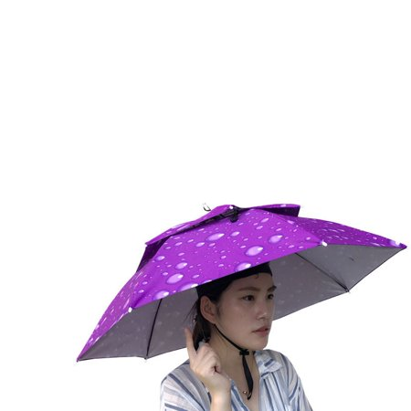 Outtop Multicolor Outdoor Foldable Double Umbrella Hat Sun Rain Cap Camping Fishing - Ubrella Hat