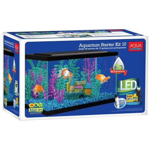 Aqua Culture Aquarium Starter Kit with LED, 10-Gallon by Spectrum Brands
