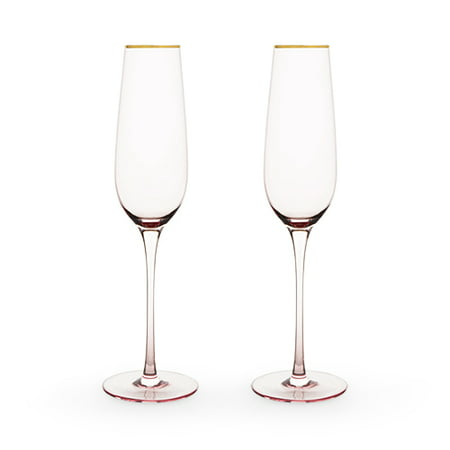 Garden Party: Rose Crystal Champagne Flute Set by - Crystal Champagne Glass