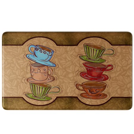 Art3d Coffee Cup Party Comfort Memory Foam Kitchen Mat Anti-Fatigue, 18\