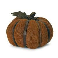 "6"" Autumn Harvest Bronze Burlap Pumpkin with Bamboo Thanksgiving Fall Decoration"