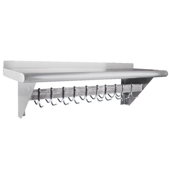 Universal PS-14-36 Stainless Steel Pot Rack w/ Shelf and 10 S/S ...