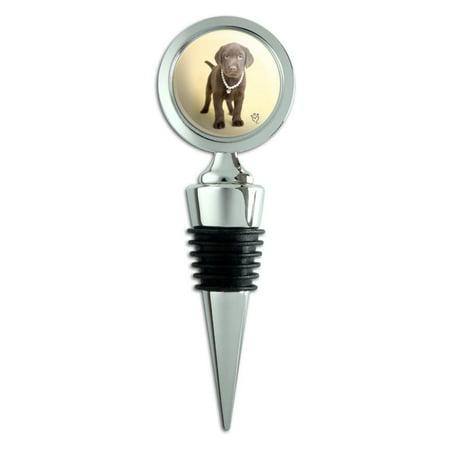 Chocolate Lab Labrador Puppy Dog Crown Necklace Wine Bottle Stopper (Crown Wine Bottle Stopper)