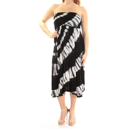 INC Womens Black Convertible Tie Dye Sleeveless Strapless Midi Fit + Flare Dress  Size: M