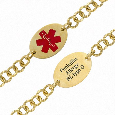 Medical Personalized Bracelet (Personalized Gold-Tone Oval Medical ID Bracelet, 7.5