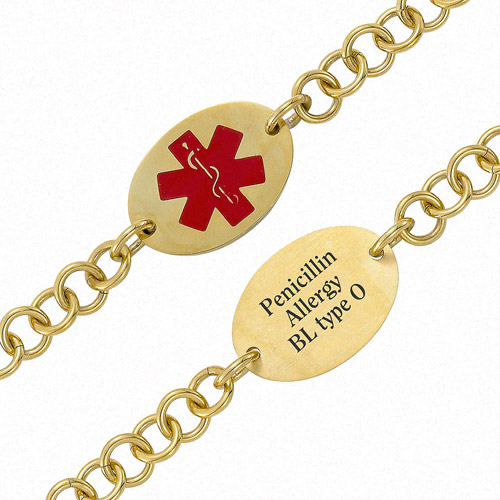 Personalized Gold-Tone Oval Medical ID Bracelet, 7.5""