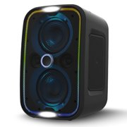 Brookstone Big Blue Go Party Speaker, Built-in Qi Charging, High Power Portable Bluetooth Sound System, Adjustable LED Lights, High-Res Audio, Intense Bass, IPX5, Tap-To-Link, Lightweight, Black
