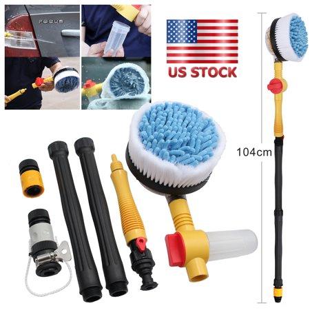 ESYNIC Car Wash Brush Rotating Pole Vehicle Wash Washing Cleaning Brush Sponge Cleaner Hose (Vehicle Wash Brush)