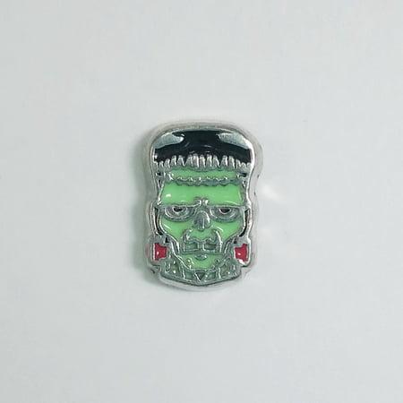 Halloween Floating Charms (1 PC - Frankenstein Halloween Enamel Silver Charm for Floating Locket)