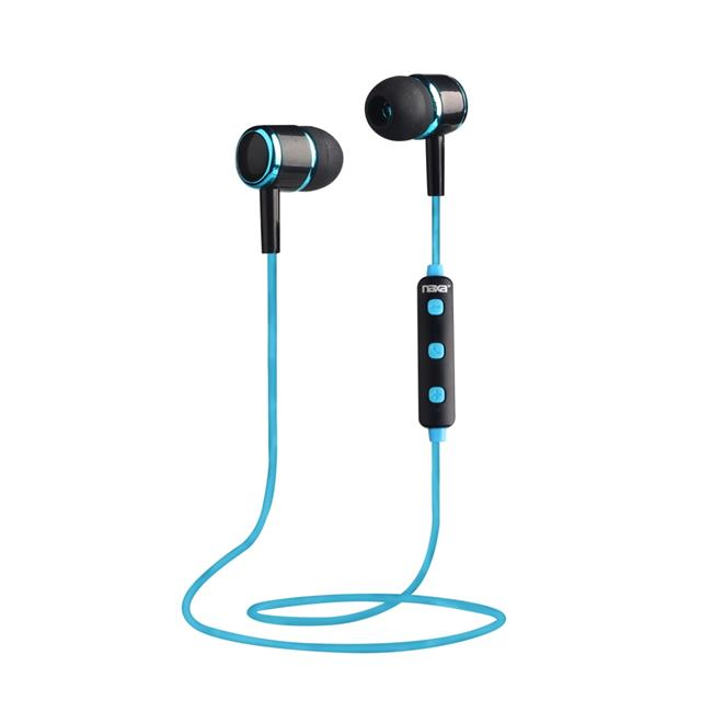 Naxa NE-950 BLACK-BLUE Bluetooth Isolation Earbuds with Microphone & Remote, Black & Blue - image 1 de 1