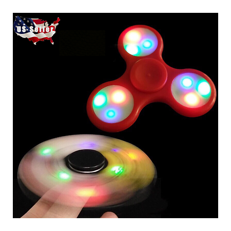 3 PACK LED Hand Spinner Tri Fidget Finger Spinner EDC Spin Stress Focus Desk