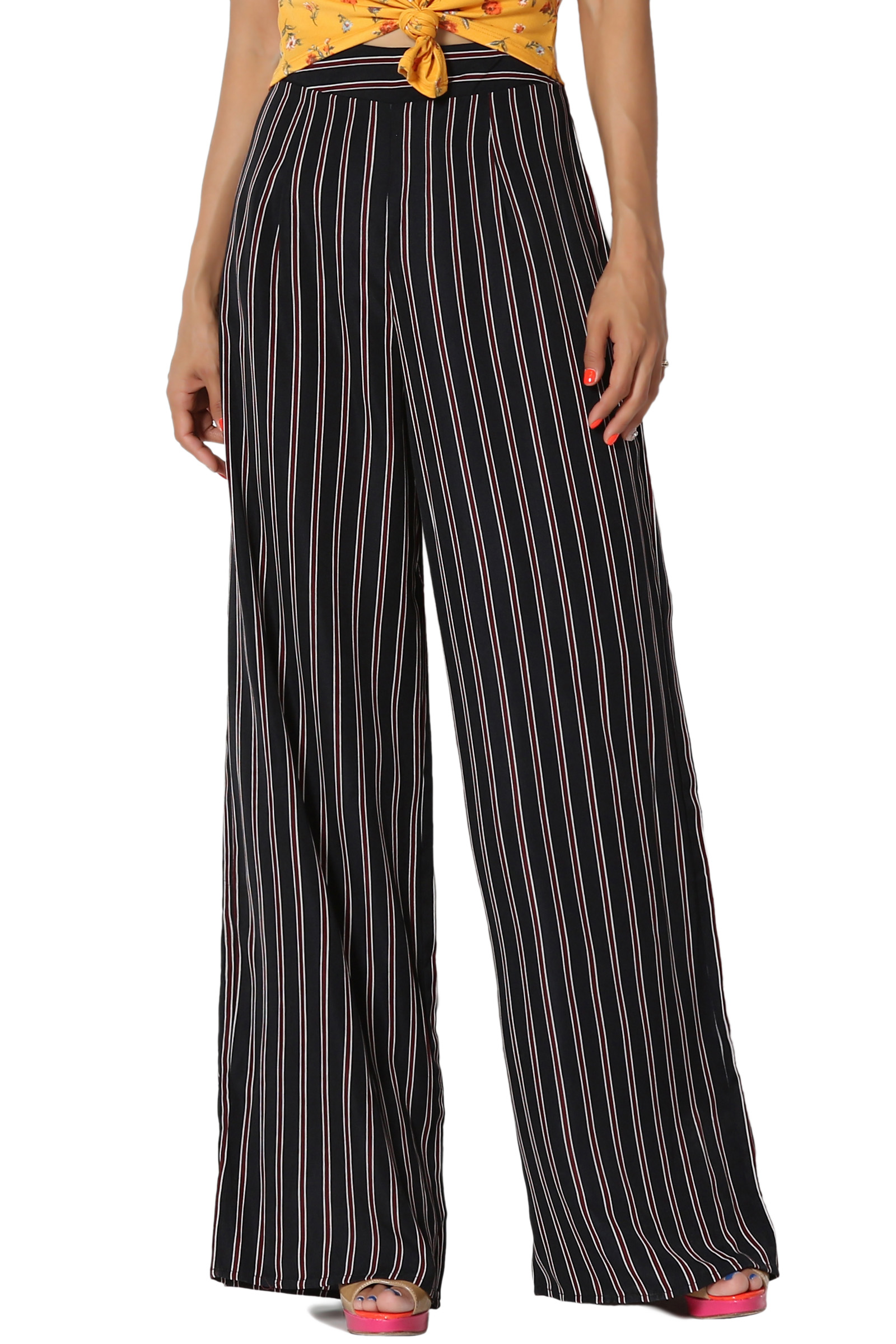 TheMogan Tied Wrap Front Elastic High Waist Flowy Stretch Wide Leg Pull-On Pants