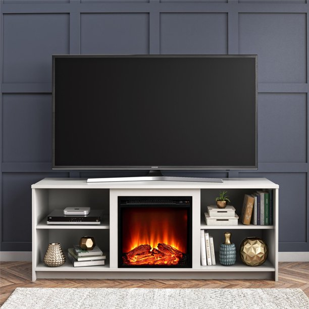 "Mainstays Fireplace TV Stand for TVs up to 65"", White"