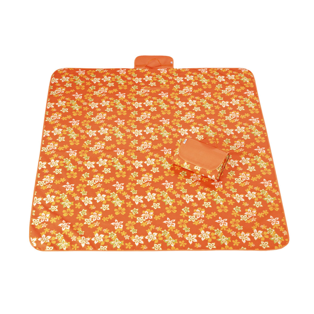 Outdoor Camping Nylon Iris Japonica Pattern Picnic Mat Pad Orange 145 x 180cm
