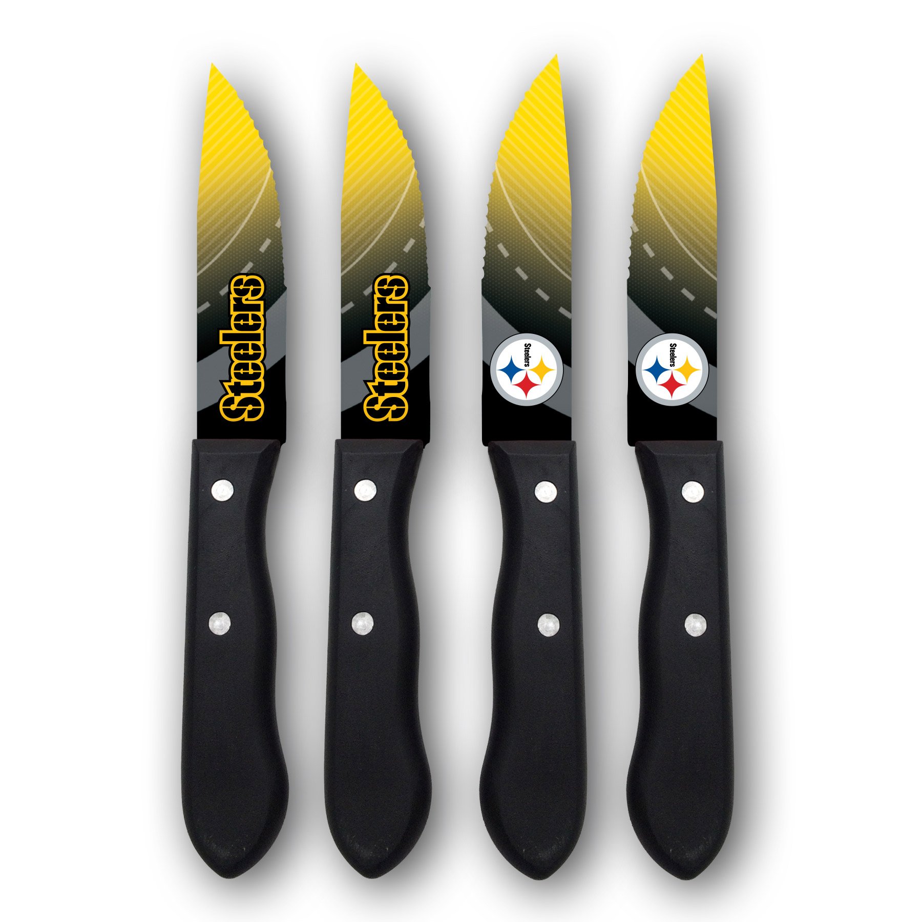 Pittsburgh Steelers Woodrow 4-Piece Stainless Steel Steak Knife Set - No Size