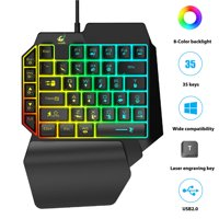 TSV One-Handed Gaming Keyboard, RGB Backlit 35 Keys Portable Mini Gaming Keypad - Wired USB Mobile Game Half Keypad Single-Handed Ergonomic Game Controller fits for PC PS4 Xbox Gamer