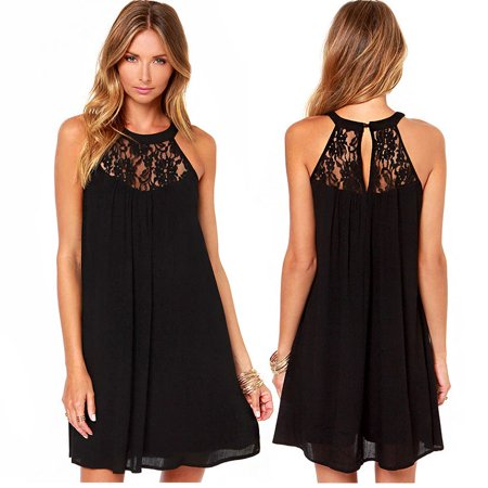Sexy Women Sleeveless Lace Sheer Boho Beach Sundress Mini Chiffon Shift Dress