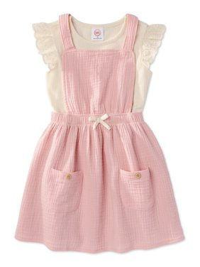 Wonder Nation Baby Toddler Girls' Ruffle Sleeve Top & Apron Dress, 2pc Outfit Set