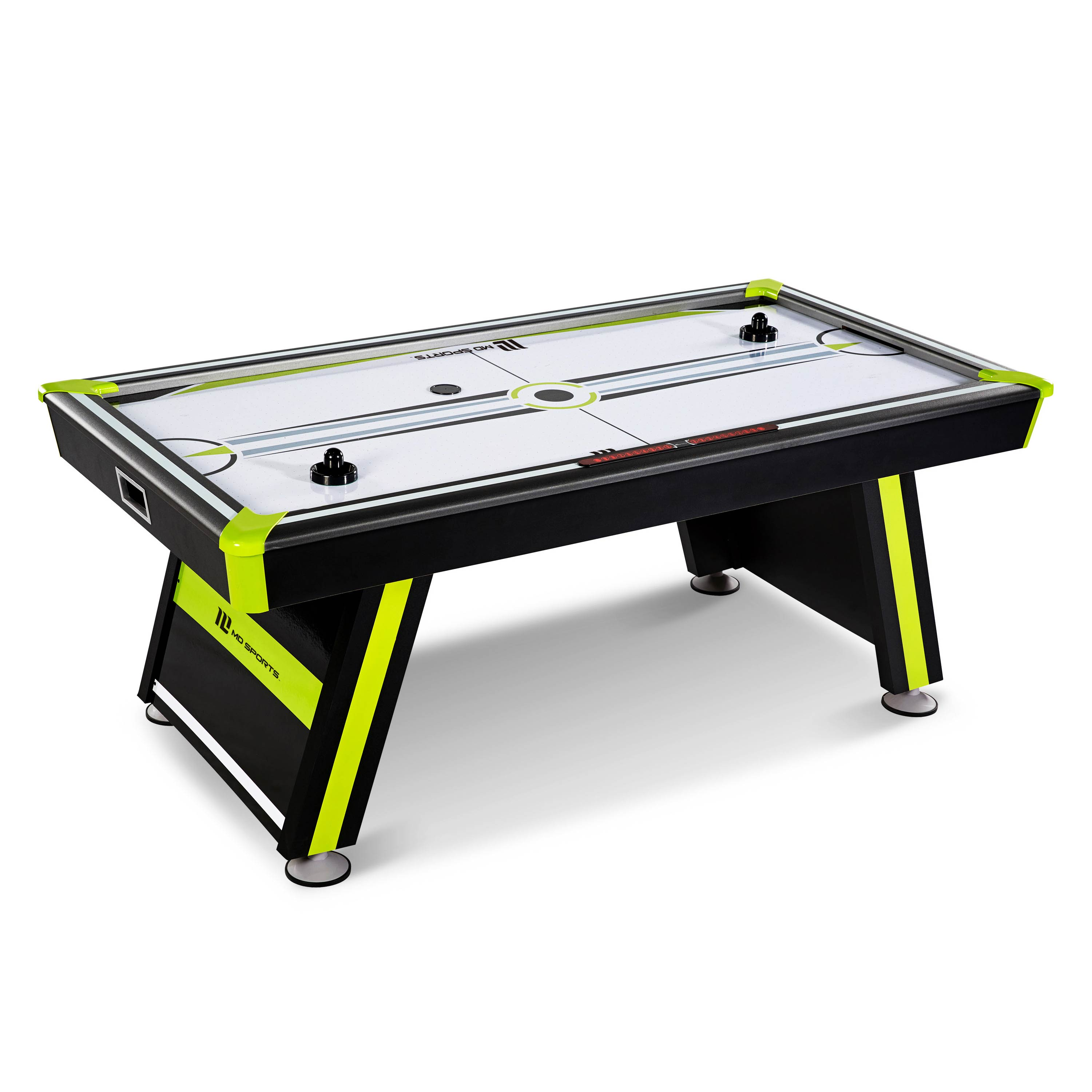 MD Sports 80 inch Air Powered Hockey Table, Includes 2 pushers and 2 pucks, Back/Green